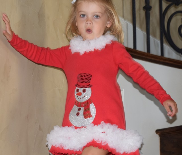 Snowman Red Dress Holiday 2016